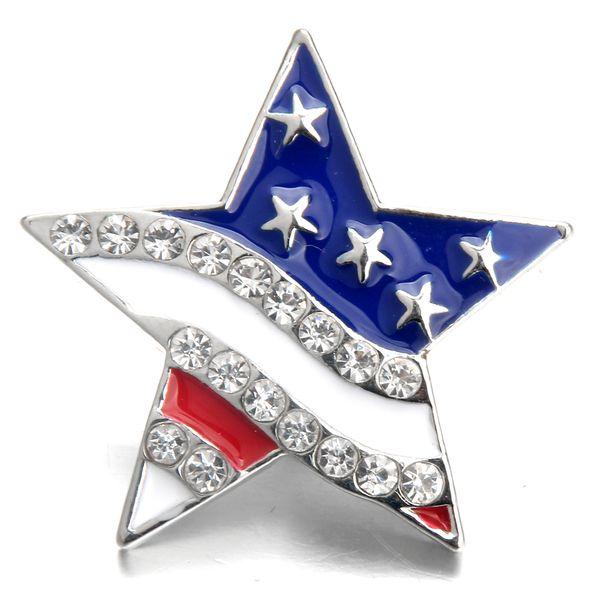 10 pçs / lote nova pressão jóias Rhinestone da bandeira americana 18 MM botões de pressão Vintage Alloy fit pulseira