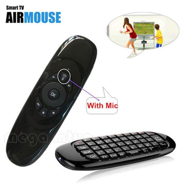 2.4G C120 MICROFONE Falante 6 eixos Giroscópio Sem Fio Teclado com Air Fly Mouse para PC Inteligente Android TV Box SKYPE Gaming Teclados