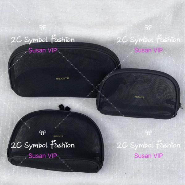 Conjunto de 3 sacos (preço para 3 sacos) Moda feminina Transparente Malha organizador cosetics marca sacos de maquiagem designer de luxo bolsa de presente contador