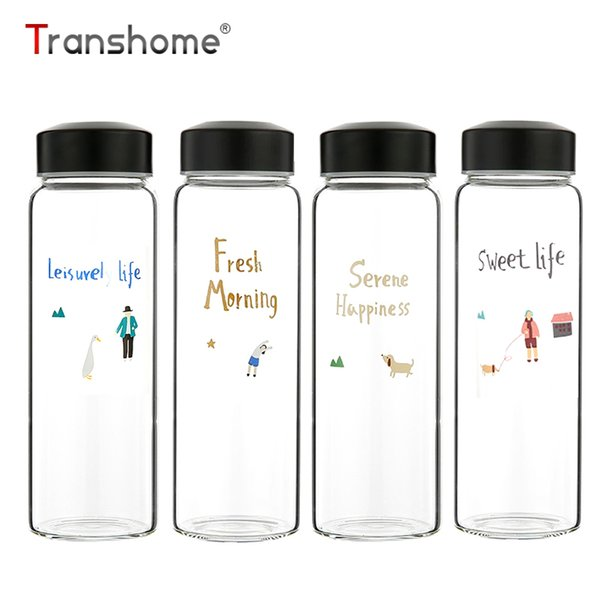 c9868613dc8 Transhome New Korean Style Glass Bottle 400ML Cute School Glass Bottle  Outdoor Bottle For Water Lemonade