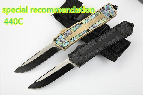Micro T Scarab Abalone Shell Tactical Pocket Knife 440C Aluminum Handle Outdoor Camping Hunting Survival Military Utility EDC Tools