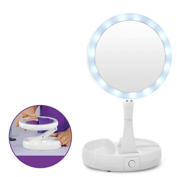 Mirrors Makeup Mirrors Able Top Sale 1pcs Led Makeup Mirror Lady Makeup Cosmetic Folding Portable Compact Pocket Mirror 8 Led Lights Lamps Complete In Specifications