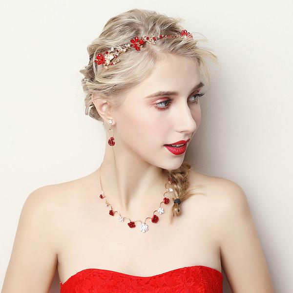 Kırmızı Rhinestone Kafa Bandı Saç Aksesuarları Çiçek Kolye Gerdanlık Küpe Takı Setleri ile Kadınlar Moda Bijoux Başlığı Hediyeler