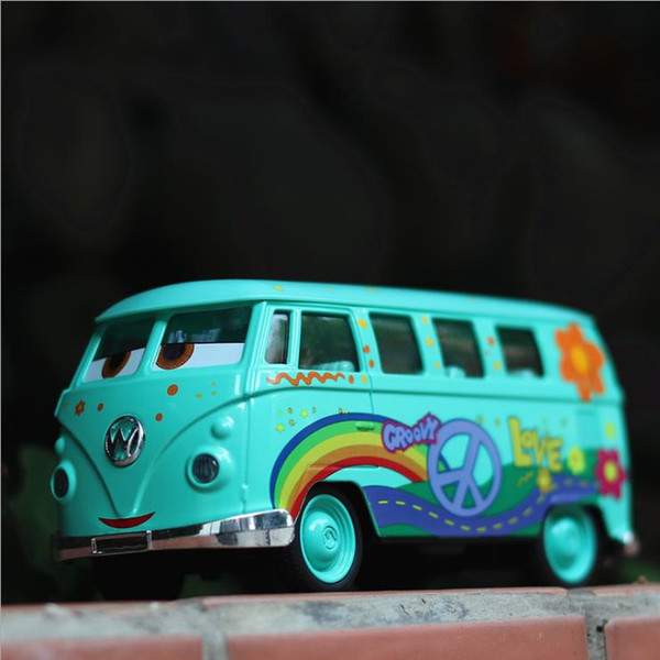 Cartoon bus model 1:32 scale alloy pull back toy car diecast metal car model free shipping A favorite gift for children musical&flashing