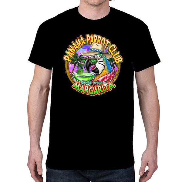 Funny Cotton T Shirts Short Sleeve Top Men's Panama Parrot Club Black T-shirt (3X Large) Crew Neck T Shirt For Men