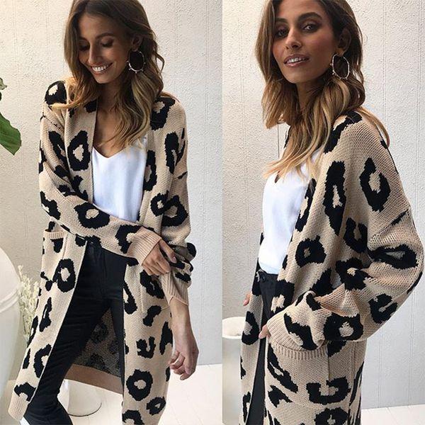 Großhandel Gestrickte Leopard Pullover Mantel Strickjacke