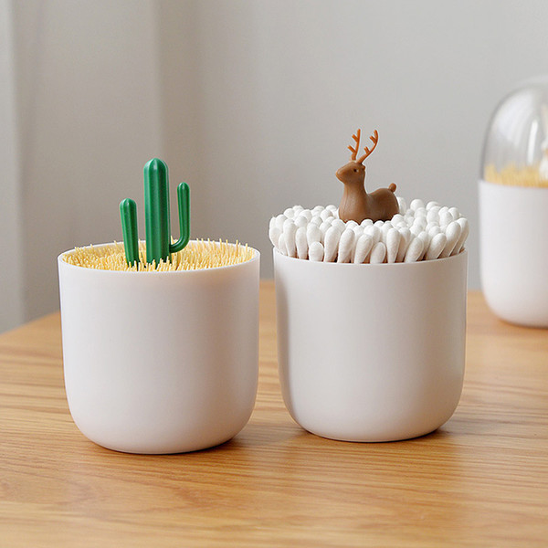luluhut creative toothpick holder plastic cotton swab holder with cute mini cactus trees rabbit table accessories decorated home