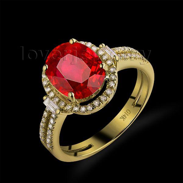 Hot! Ovale 8x10mm 14Kt anello in oro giallo con diamanti rubino, anello di fidanzamento rubino in vendita G090795 S923
