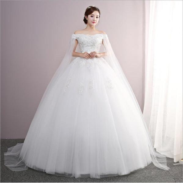 Роскошный белый Bateau Свадебное платье Длина пола Узелок Boat Neck Lace бальное платье 2020
