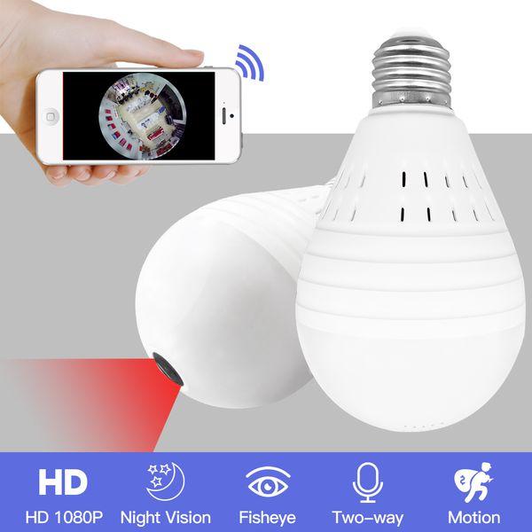 Light 960P Wireless Panoramic Home Security WiFi CCTV Fisheye Bulb Lamp IP Camera 360 Degree ONVIF Night Vision YITUO