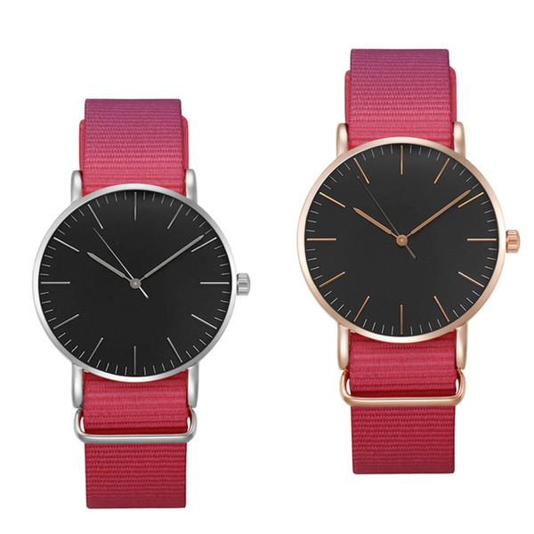 Nova marca de moda de luxo mulheres mão nylon relógio de nylon à prova d 'água senhoras de ouro assistir 36 MM
