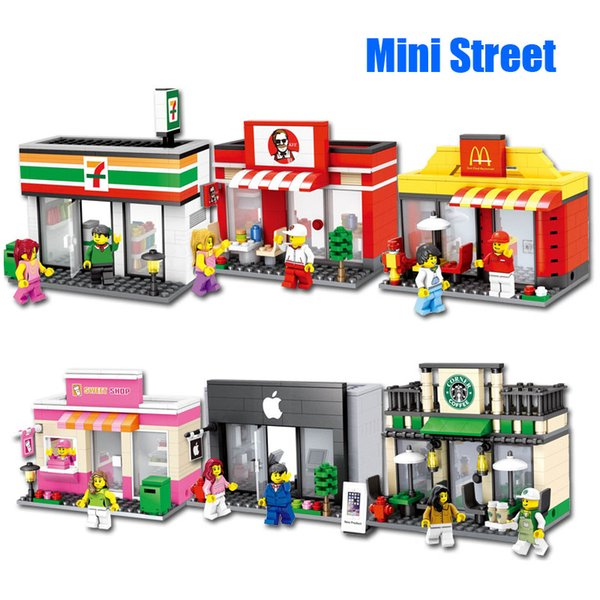 City Series Mini Street Scene Retail Store Mini 3D Model Building Block Sweet Supermarket Hamburger Store Toy for Children Architecture Toy