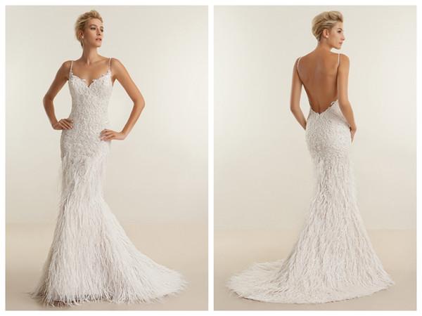 2018 Wedding Dresses robe de mariée Demetrios Ivory Ostrich Feather Mermaid Wedding Dress Apaghetti Backless Crystal Applique Custom Made