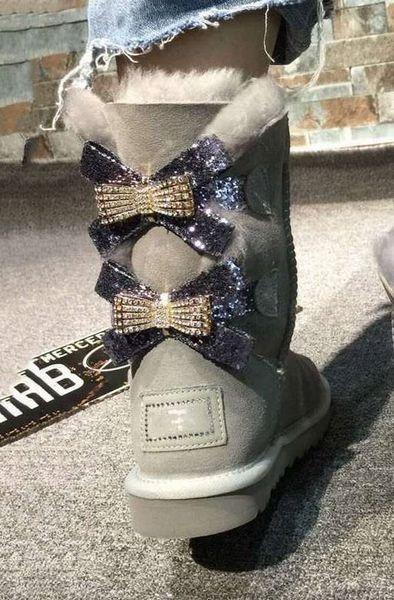 2018 nuevas botas de nieve de Australia medio tubo moda cálida mujeres zapatos de algodón Bowknot taladro raqueta tamaño