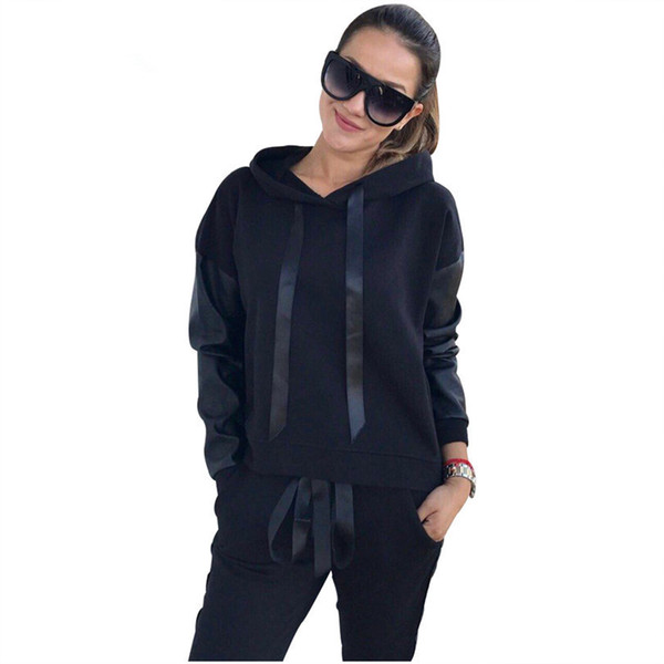 Women Casual Lace -Up Hoodies Sportswear Leather Patchwork Sets Split Side Zippers Tops Street -Wear 2 Piece Sets Suits Tracksuit Female