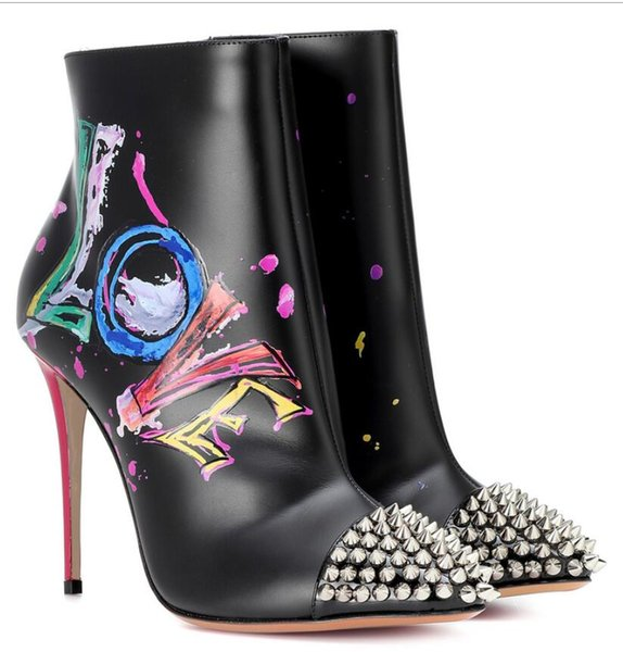 2019 new Women Sexy Black ankle Boots point Toe booties Dress Shoes LOVE printed leather Boots Party Shoes spike stud boots ladies