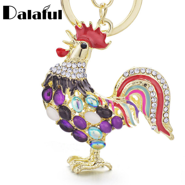 12pcs/lot Pretty Keychains Opals Cock Rooster Chicken Crystal Bag Pendant Key Ring Key Chains Wholesale Lots Bulk Jewelry PK131