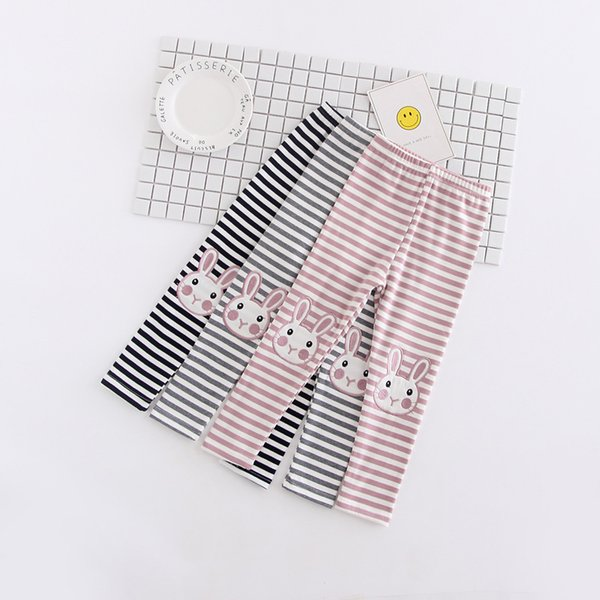 Baby Girls Leggings & Tights Rabbit Cartoon Embroidery Stripe Kids Autumn Newest Leggings Infant Pants 5 p/l