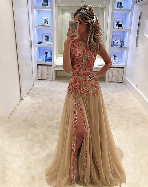 See Through Sexy Prom Dresses with Colored Flowers Applique Champagne Tulle Evening Party Gowns Side Split A Line Dress