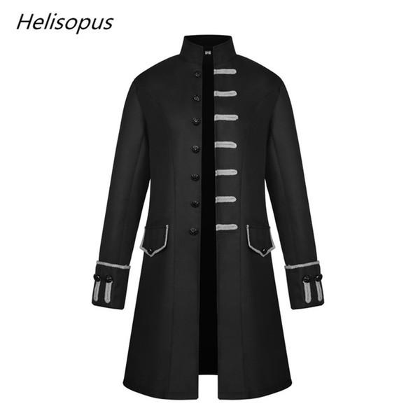 Lange Steampunk Windbreaker Großhandel Helisopus Neue Herren Stehkragen Gothic Vintage Mantel Männer Jacke Mode Dampf Mittelalterlichen sChdxtQr
