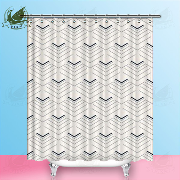 Vixm Abstract Triangle Geometry Modern Style Art Shower Room Curtain Polyester Fabric Waterproof Mildew Ahower Curtain Home Decoration
