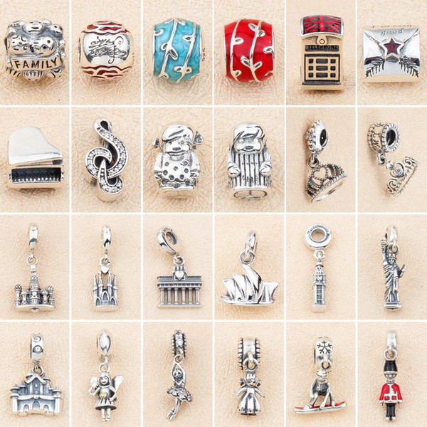 S925 sterling silver beaded glass beads fixed buckle new DIY beaded pendant boy girl piano string jewelry