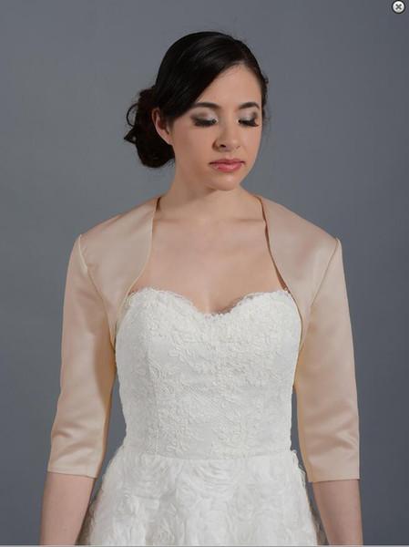 Custom Made Champagne Bolero navy blue 3/4 sleeve satin bolero jacket Bridal Jacket for Brides Wedding Wraps