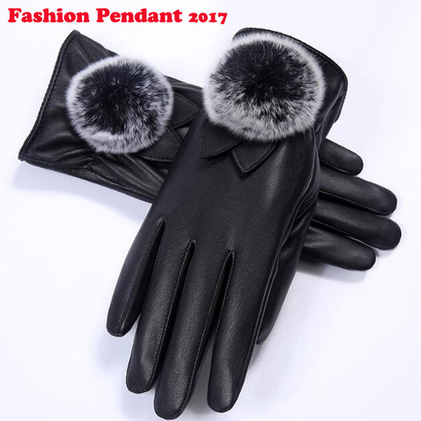 2018 Touch Screen Windproof Outdoor black Gloves For Women winter windstopper waterproof bare wrist leather gloves
