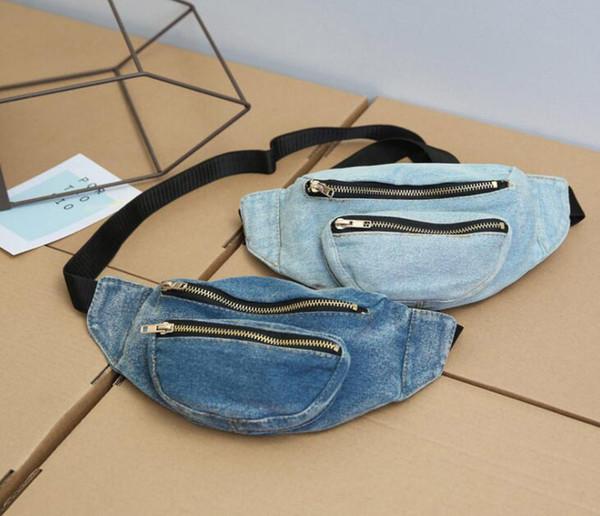top popular 50pcs 2018 New Personal Women Demin Plain Casual Waist Fanny Pack 2colors Cowboy Top Zipper Chest Bags Waist bags 2020