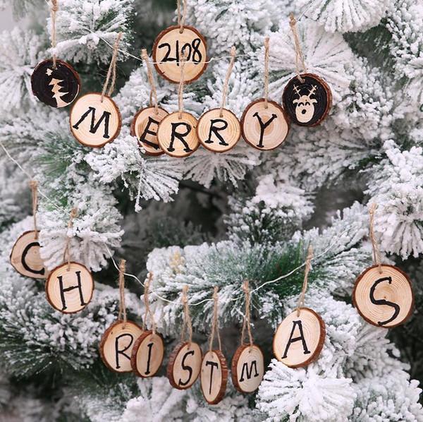 10 PCS / ensemble De Noël décoration bois puce De Noël arbre ornements suspendus DIY pendentif Xmas diamètre 6 cm fête articles de fête