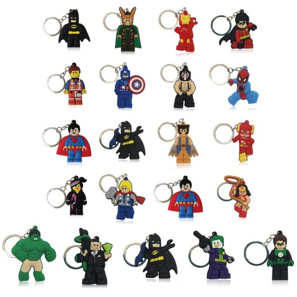 best selling Wholesale Cool Super Hero Cartoon Figure High Quality Bright Color Cartoon PVC Keychain Key Ring Bag Cute Accessory Kawaii Party Favor