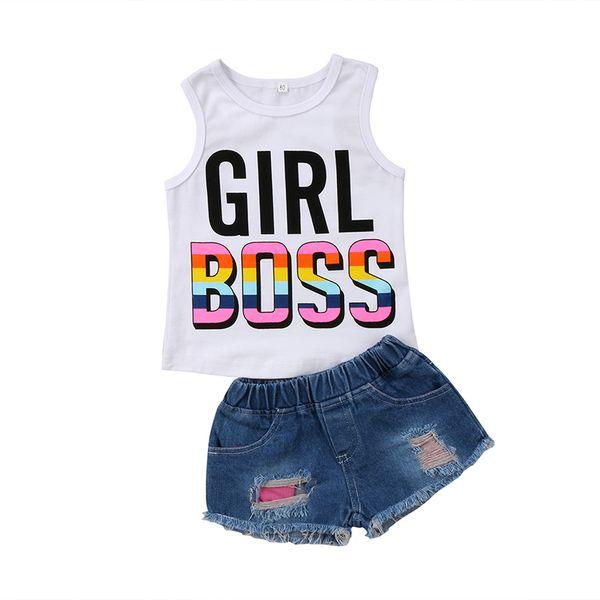 New Summer Toddler Kids Girl Sleeveless GIRL BOSS Cotton Vest T-shirt Tops+Denim Shorts Hot Pant Jean 2PCS Outfit Clothing Set