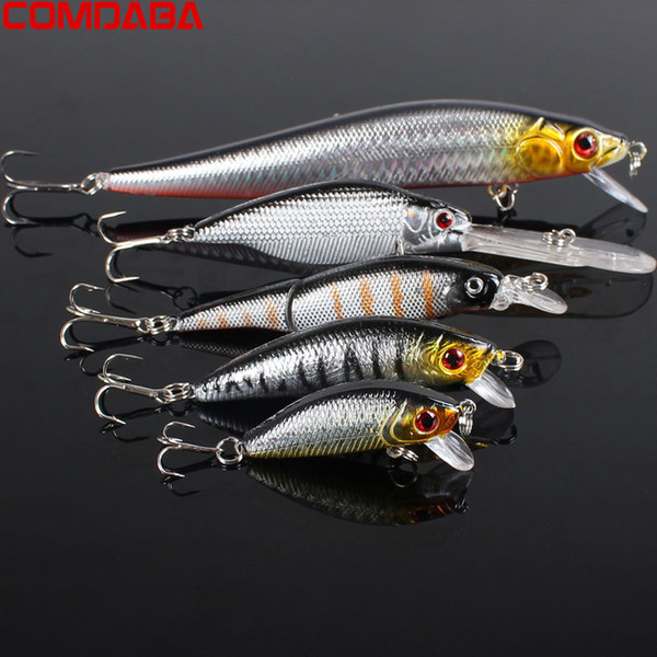 5pcs/Lot Fishing Lures Set Mixed 5 Models Minnows Bait Artificial Make Bass Crankbaits High Quality Wobblers Fishing Tackle Y18100806