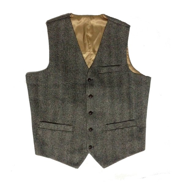 British Style Black Wool Tweed Vests Slim Fit Men's Suit Waistcoat Custom Made Men's Suit Blazers Vintage Wedding Tuxedo Vests For Men Plus