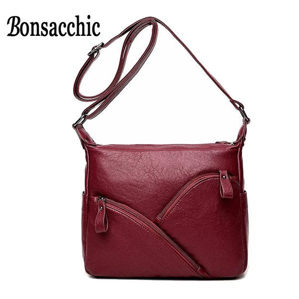 Bonsacchic Small Women Shoulder Bag Famous Designer PU Leather Bags Women Flap Zipper Pockets Crossbody Bags for Girls sac femme