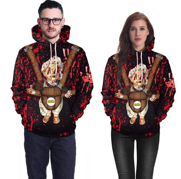 Hot Mais Recente Dos Homens das Mulheres de Halloween Horror bloodstain doll 3D Impressão Camisola Hoodies Casuais Y01