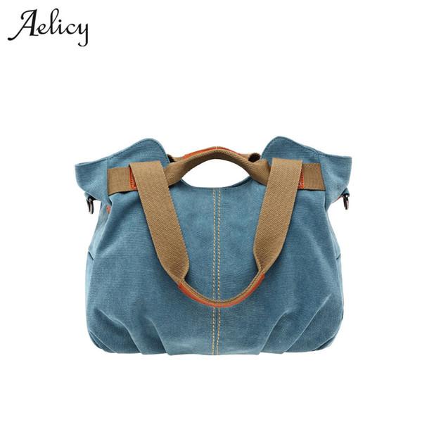 Aelicy Handbags Bag Female Canvas Casual Tote Bags Handbags Women Famous Brands Handbags for Moms Large Capacity Bolsas Y18102404