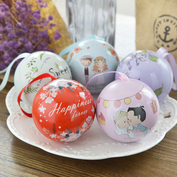 6.8cm Spherical Tinplate Sweet Ball Candy Box Round Sahpe Wedding Souvenir Party Favor Gift Box Wholesale