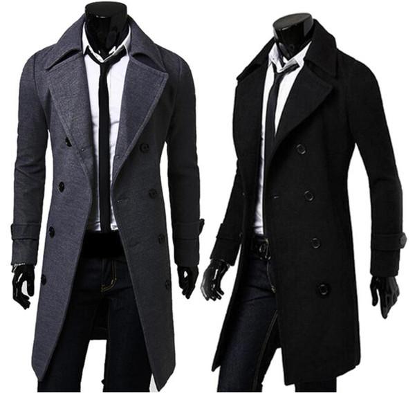 Slim Trench Abrigos largos Chaquetas de manga larga de invierno de doble botonadura para hombre Color sólido a prueba de viento Ropa de abrigo Ropa