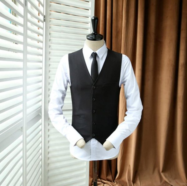 Formal occasions men suit classic black vest with high quality wedding the groom's best man dress waistcoat fashion style