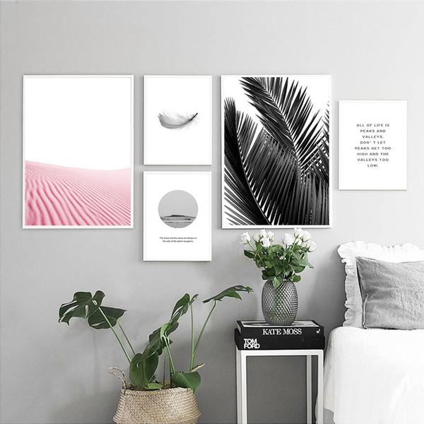 Acheter Scandinave Feuilles Plume Peinture Paysage Mur Art Art Nordique Affiche Motivation Impression Mur Photo Pour Salon De 29 16 Du Aliceer