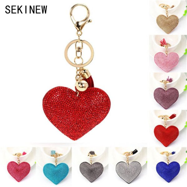 SEKINEW Fashion Car Play 8 Colors Full Crystal Rhinestone Heart Key Chain Keychain Bag Car Hanging Ornament Accessories