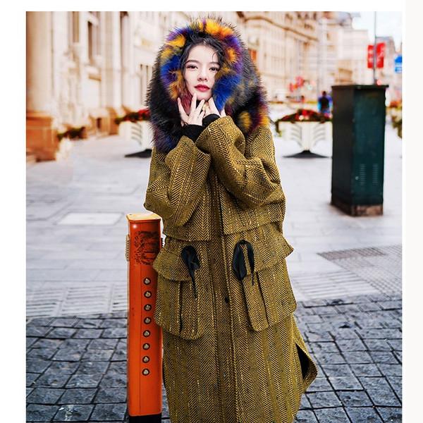 2018 Fashion Winter Women Thick Coat Stripe Long Section Keep Warm Woolen Coat Pockets Colorful Fur Collar Long
