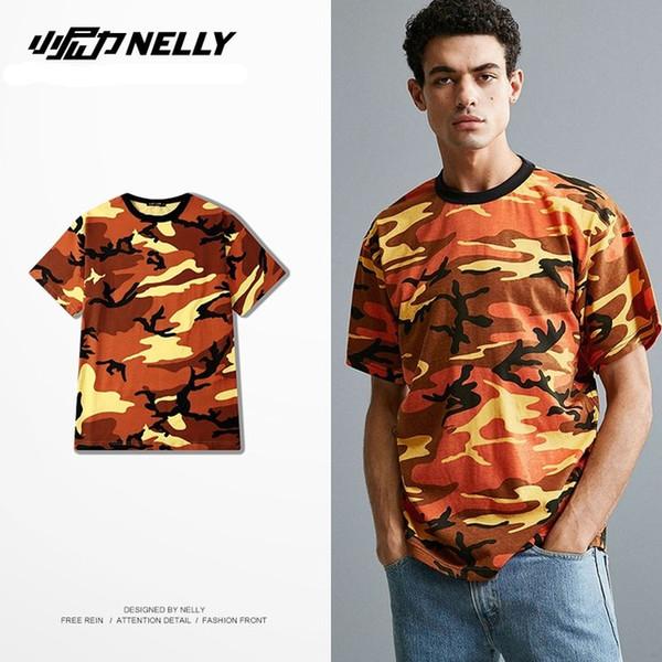 Impressão Completa INS T-shirt laranja camo poliéster de algodão mistura vários tamanhos estilo streetwear T-shirts