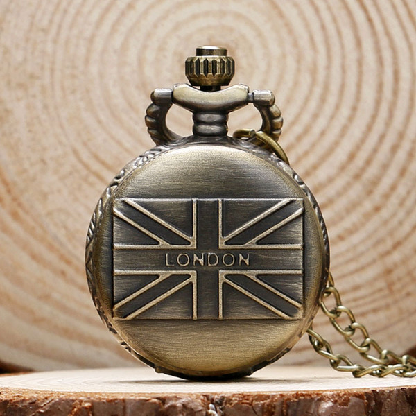 London Souvenirs England UK flag Design Small Pocket Watch Men Women Necklace Clock with Chain Female Male Watches Gift P560