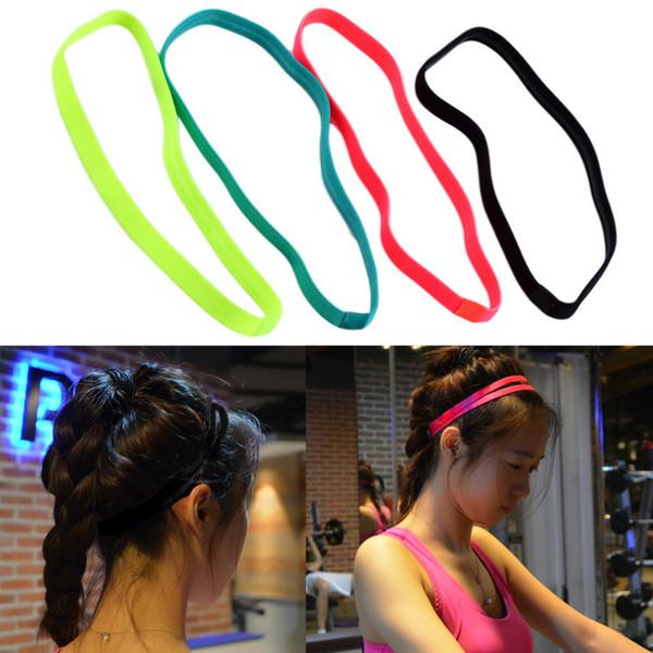 Kadın Erkek yoga saç bantları Spor Bandı Anti-kayma Elastik Kauçuk Ter Bandı Futbol Yoga Koşu bisiklet ücretsiz kargo