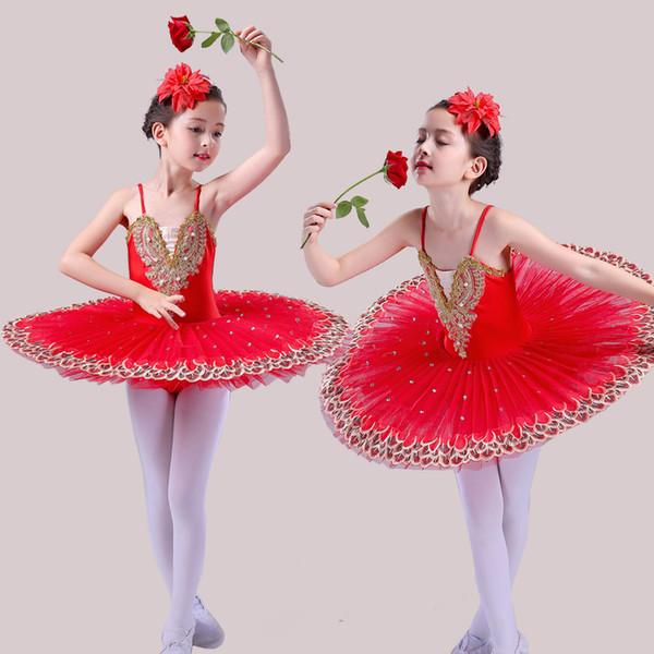 children Professional Ballet Tutu Child Swan Lake Costume White Red Blue Ballet Dress for Children Pancake Tutu Girls Dancewear