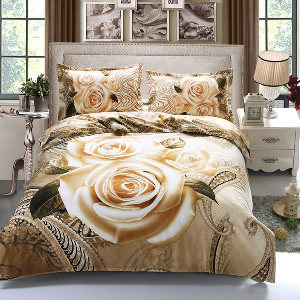 Home Textile 3d Gold Rose Bedding Set Luxury Red Rose Flower Bed Linen 4pcs Include Duvet Cover Bed Sheet Pillowcase Queen Size