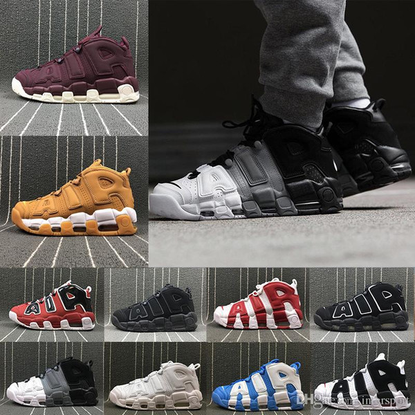Newest More Uptempo SUPTEMPO Basketball Shoes OLYMPIC RELEASE Bulls Gold Varsity Maroon Black Mens Women Scottie Pippen Shoes