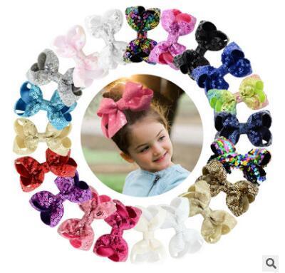 Bambini paillettes bowknot hai clip ricamo flash grande arco per bambino per bambini festa di compleanno accessori per capelli da sposa regali